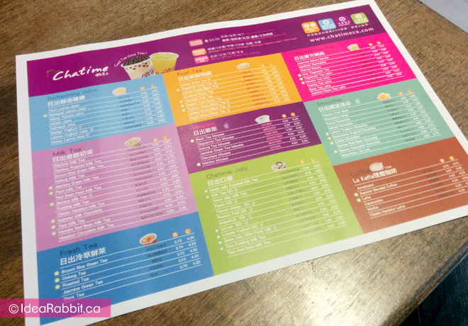 An extensive menu to choose from.